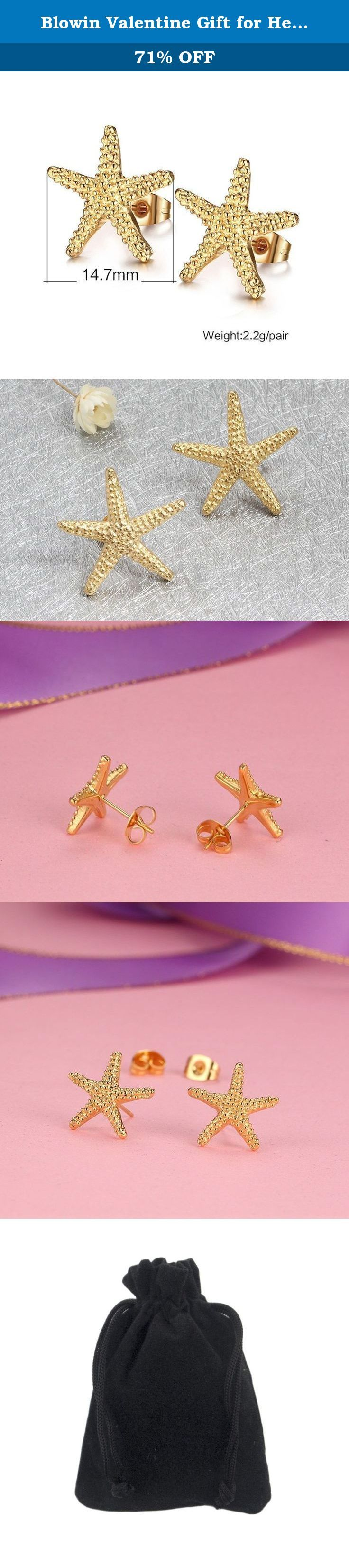 Blowin Valentine Gift for Her Womens Golden Stainless Steel Ear Studs Starfish Stud Earrings, 2pcs. Blowin Charm Womens Golden Stainless Steel Ear Studs Starfish Stud Earrings, 2pcs Material: Stainless Steel; Hypoallergenic Package Included: 2pcs Blowin Stainless Steel Earrings 1 x Gift bag Features Stainless Steel Jewelry Green high-grade green jewelry - it is completely not produce any side effects on the human body. Never fade or tarnish - Its texture is very tough,and does not tarnish...