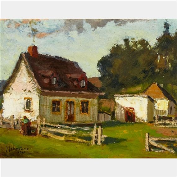 Artwork by John Young Johnstone, QUEBEC FARMHOUSE, Made of Oil on panel