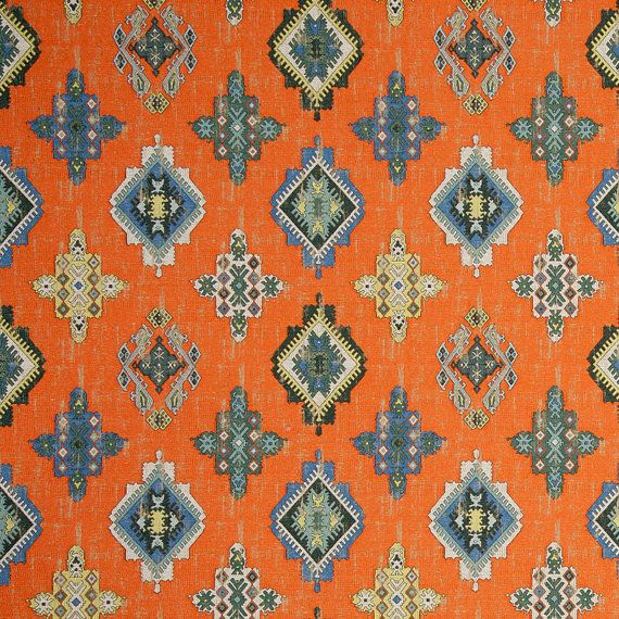 Blue Orange Woven Ikat Tapestry Upholstery Fabric - Heavyweight Medallion Fabric for Furniture - Modern Blue Grey Ikat Throw Pillows