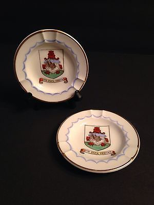 2 Wedgwood Ashtrays England Vintage Coat of Arms Bermuda Crest & 32 best English China Staffordshire Churchill plates cups place ...