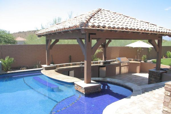 Swimming Pool, Outstanding Modern Swim Up Bar Design Ideas With Bar And Kitchen Outdoor Featuring Gazebo: Outstanding Swimming Pool Designs With Swim Up Bar Inspiration For Your Home Ideas