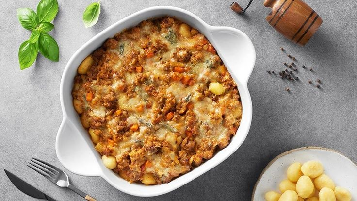 Zapečené bramborové noky s mletým masem a sýrem     Kuchyně Lidlu
