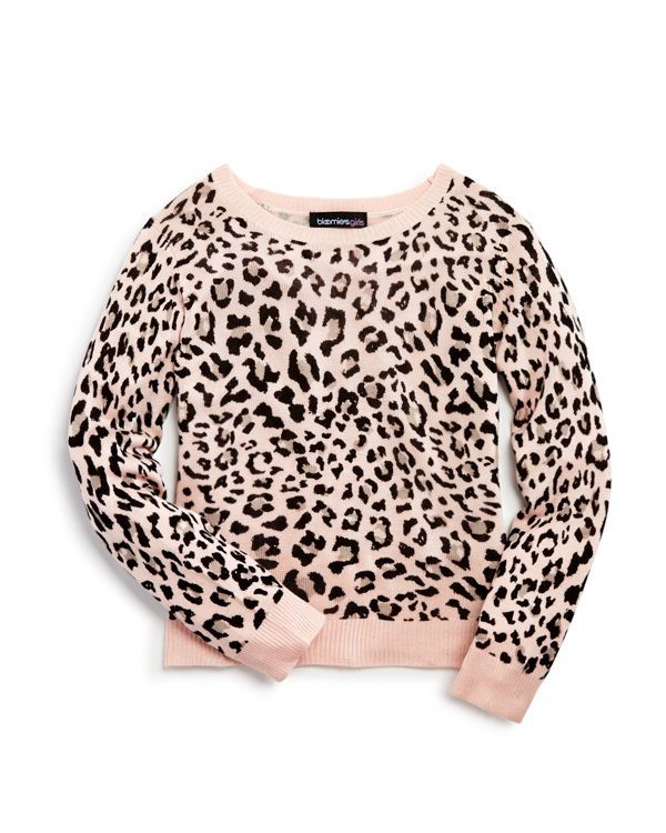 Bloomie's Girls' Leopard Print Pullover Sweater - Sizes 2-6X
