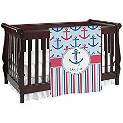 Anchors & Stripes Personalized Red and Blue Baby Blanket (Single Sided)