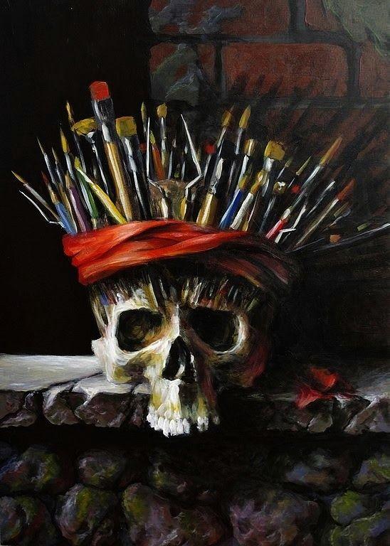 """Z serii Vanitas - """"Szaman"""" - przemijanie, rola artysty, los wielu twórców, docenianych prawdziwie dopiero... Malarstwo tradycyjne, acz..., malowałem akrylami, na płycie. 70x50 cm, rok 2013. Czaszka z natury, reszta kompozycji - z pamięci. Po więcej zapraszam na: http://pawgalmal.blogspot.com"""