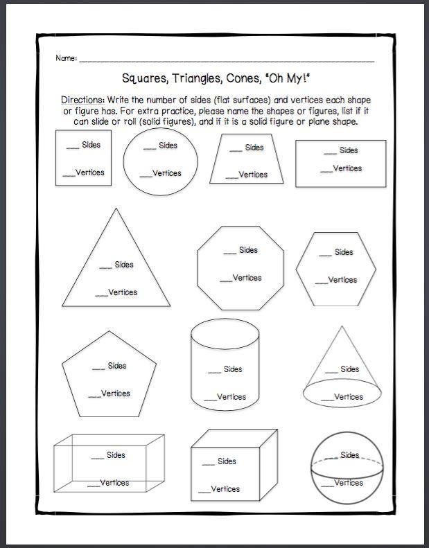 Plane Shapes Worksheets 2nd Grade Shapes Worksheets Geometry Worksheets Solid Figures Geometry worksheet for 2nd grade