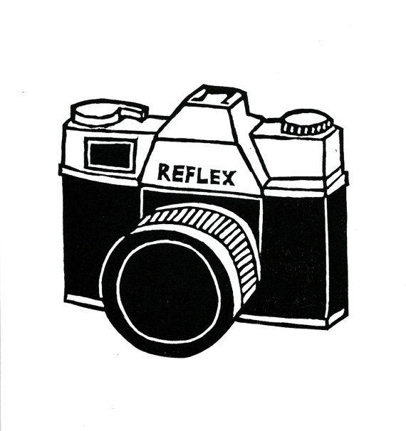 Retro camera lino print on Etsy, $43.71 AUD