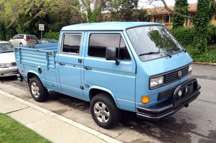 "Volkswagen Transporter ""Syncro"" 4WD double-cab truck 1986 or later  San Jose, California March 21, 2016  The original bumpers appear to have been replaced with aftermarket parts."