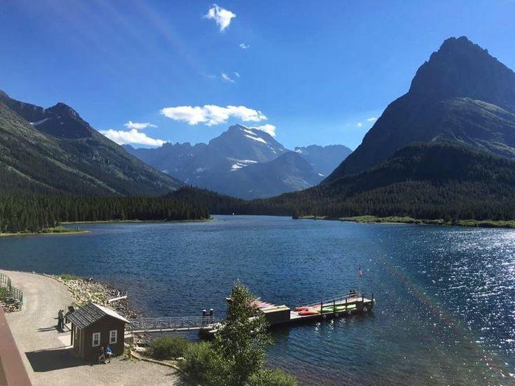 Our #view from our #deck at the #manyglacier #hotel #manyglacierhotel #travel #getoutside #glacier #nationalpark #glaciernationalpark #nps #lake#mountains
