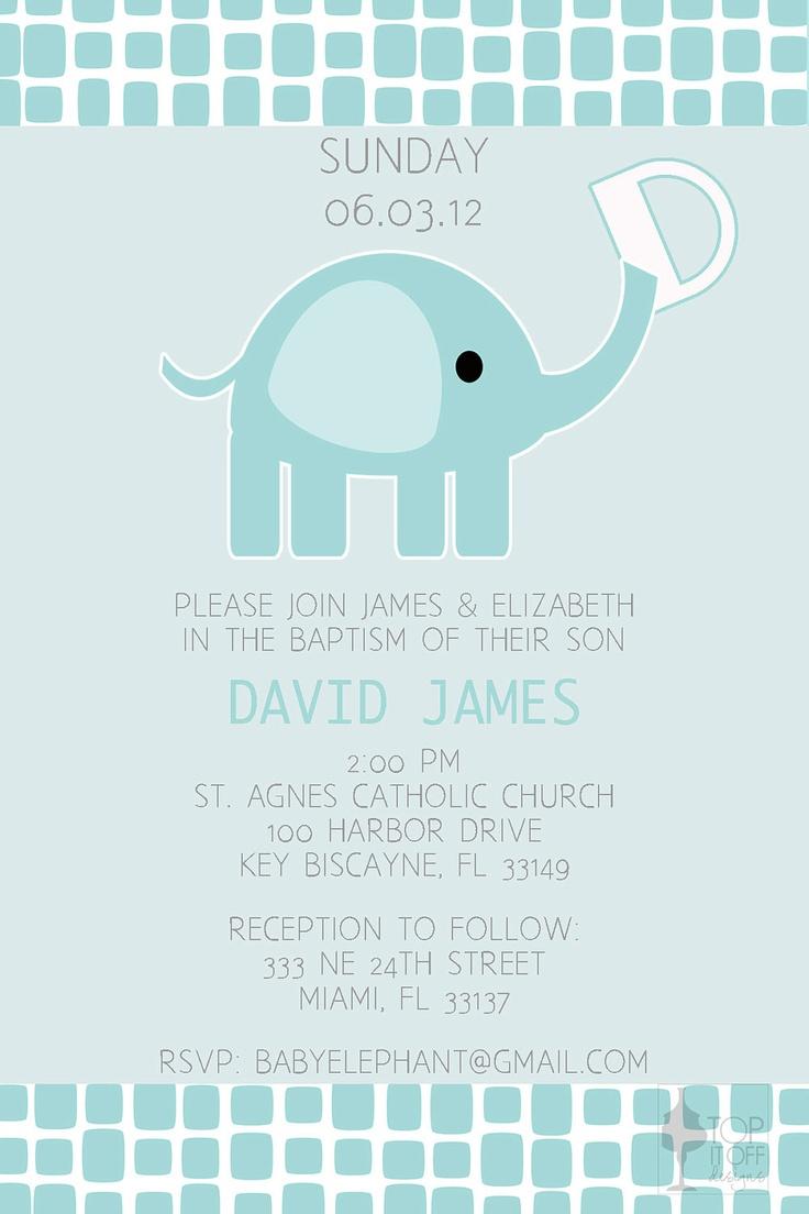 Baby Elephant Baptism Invitation - DIGITAL - DIY. $12.00, via Etsy.