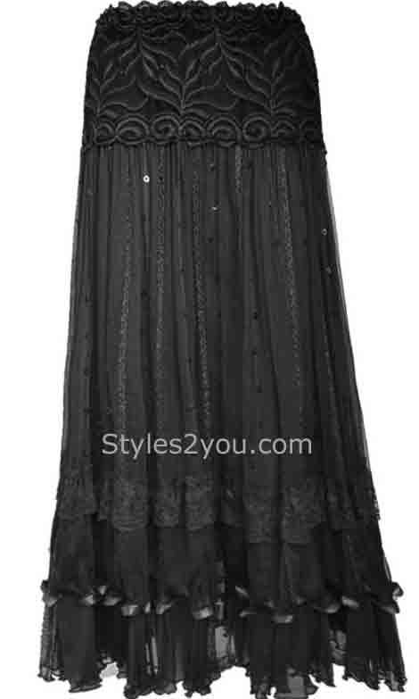 This skirt matches 86808BK to make a beautiful outfit for your holiday parties. Pretty Angel Clothing Vintage Skirt With Sequins In Black