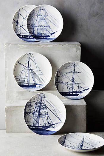 Caskata Rigging Blue Canape Plates