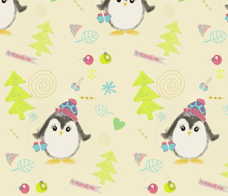 Penguins Whimsy Winter fabric by susankweckesser on Spoonflower - custom fabric