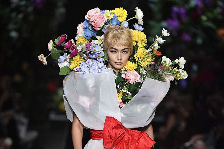 Gigi Hadid Wore a Flower Bouquet at the Moschino Runway Show