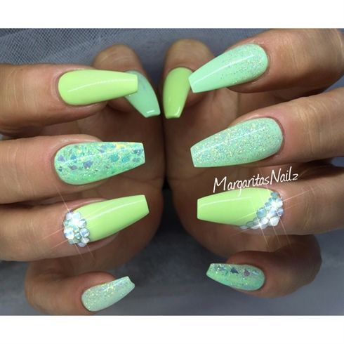 150 best seasonal nail art images on pinterest nails magazine green summer coffin nails by margaritasnailz from nail art gallery prinsesfo Choice Image