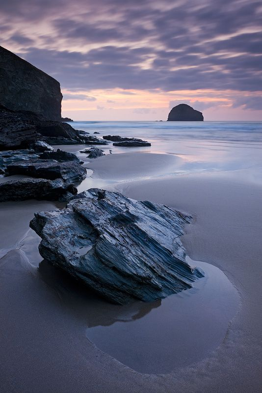 Twilight at Trebarwith Strand, Cornwall.   One of the most amazing places I have been.