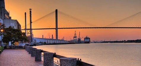 Love this view from Savannah, Georgia's River Street, with the Talmadge bridge to South Carolina in the background.