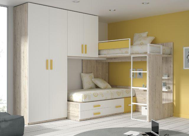 Kids Touch 47: Ponte attrezzato angolare con letto superiore a soppalco