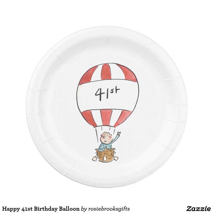 De gelukkige 41ste Ballon van de Verjaardag Papieren Bordjes
