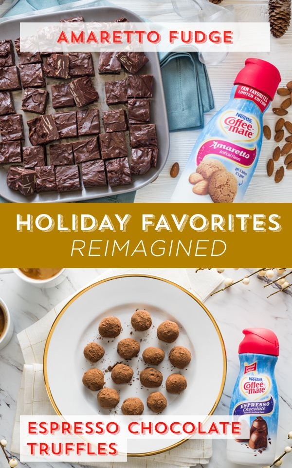 Elevate your favorite holiday desserts with Nestlé Coffee-mate's holiday inspired flavors. Infuse fudge with holiday flavor when you add the sweet, almondy taste of Coffee-mate Amaretto flavor. Or, give truffles a boost with the rich, decadent taste of Coffee-mate Espresso Chocolate flavor.