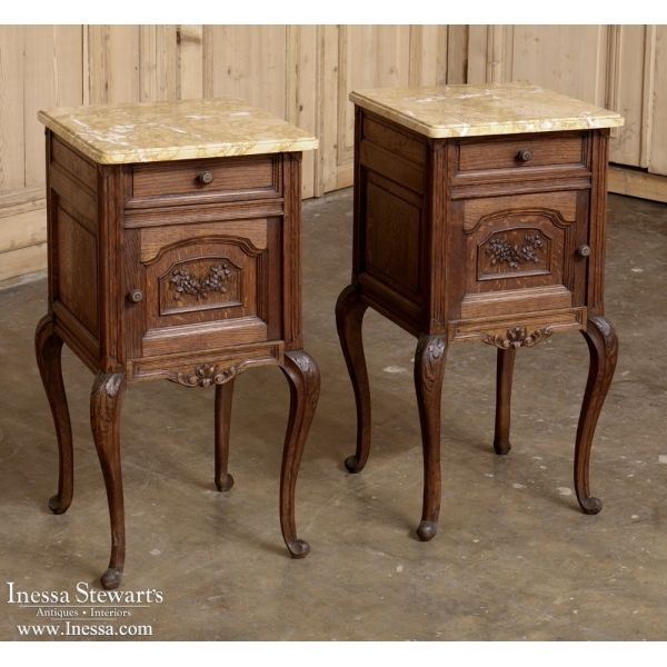 Antique Furniture | Antique Bedroom Furniture | Nightstands | PAIR Country  French Marble Top Nightstands |