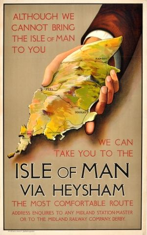 Isle of Man via Heysham, 1920s - original vintage poster listed on AntikBar.co.uk