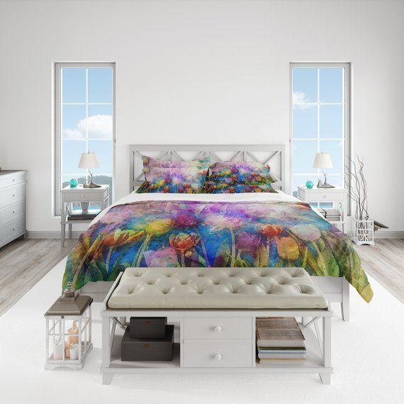 Pastel Watercolor Flowers Duvet Cover Twin Queen King Size Etsy Duvet Covers Twin Flower Duvet White Duvet Covers