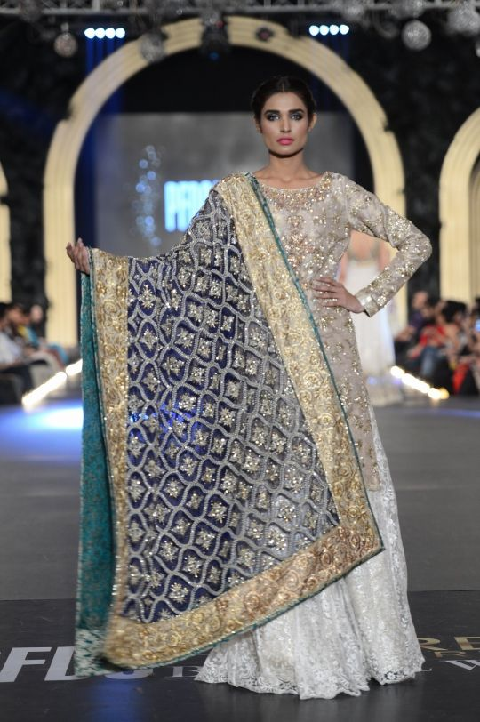 Blue and white lengha by Zara Shahjahan at PFDC Bridal Week 2013.