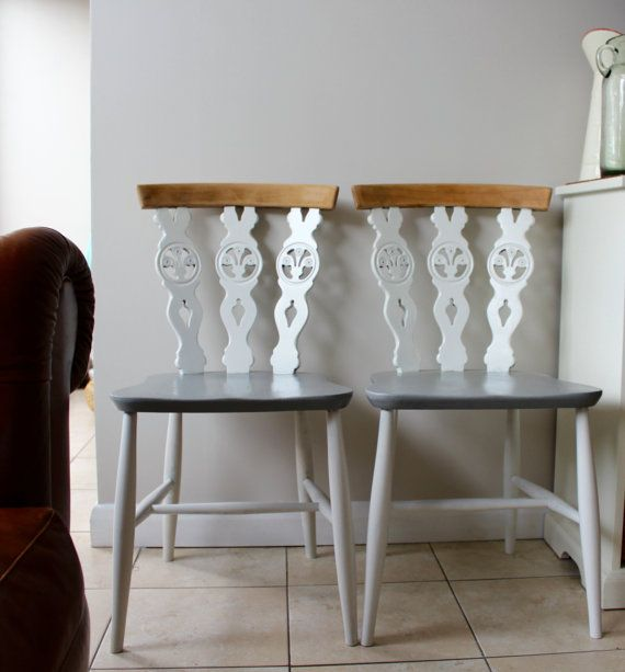 SOLD  Pair of Upcycled White and Grey Ercol Dining Chairs in