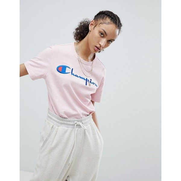 Champion Crewneck T-Shirt With Script Logo ($45) ❤ liked on Polyvore featuring tops, t-shirts, pink, crew neck tee, pink top, streetwear t shirts, relax t shirt and baggy t shirt
