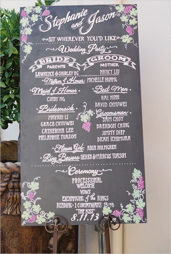 Wedding program sign instead of individual programs! Save money and the environment by not printing all those programs that just go in the trash l Wedding Chicks