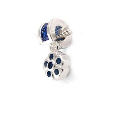 Pandora Charms Pendant Gems and Silver Blue Flowers LD734