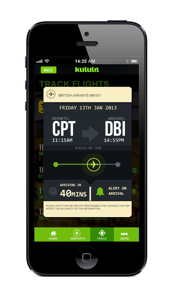 Kulula.com flight tracking app on Behance