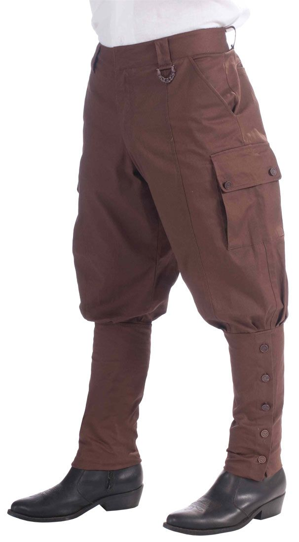 Brown Steampunk pants find a too large pair of trousers, adjust the waist and bum, make the calves tight.