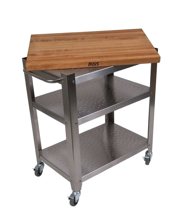 John Boos Mobile Rolling Island Stainless Steel Cart With X Removable Maple Edge Grain Cutting Board Top Perforated Shelves