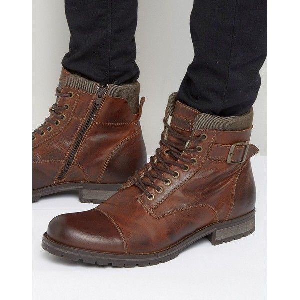 Jack & Jones Albany Warm Leather Boots ($138) ❤ liked on Polyvore featuring men's fashion, men's shoes, men's boots, brown, mens round toe cowboy boots, mens lace up shoes, mens leather shoes, mens brown boots and mens brown leather shoes