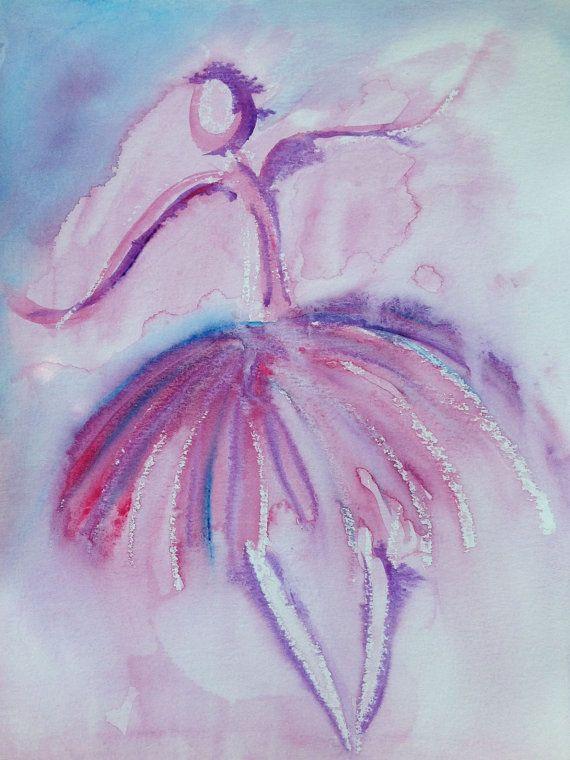 Original Watercolor Painting Ballet Dancer by KingdomCreatives, $20.00