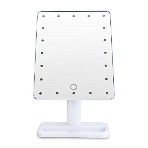 Unique Portable LED Touch Screen Makeup Mirror 20 LEDs Lighted Make-up Cosmetic Mirror Adjustable Vanity Tabletop Countertop Bathroom Mirror (White)