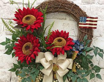 Red Sunflower Wreath, Patriotic Wreath, Summer Wreath, Front Door Wreath, Outdoor Wreath, Silk Floral Wreath, Grapevine Wreath