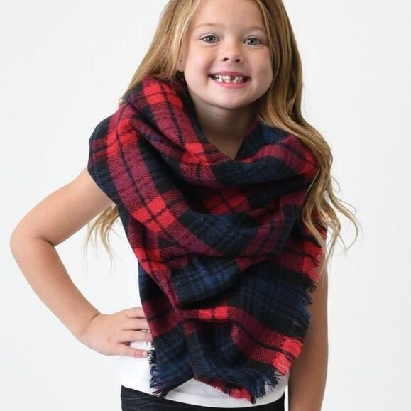 Kids Blanket Scarf - Red