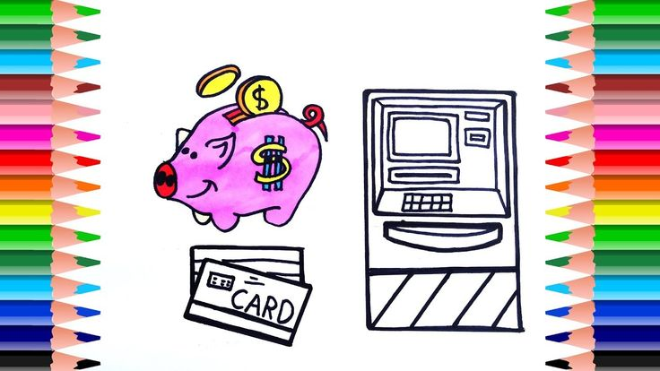 Learn Color with Pigs Save, ATM Card, Wallet and Cash Registers. Drawing...