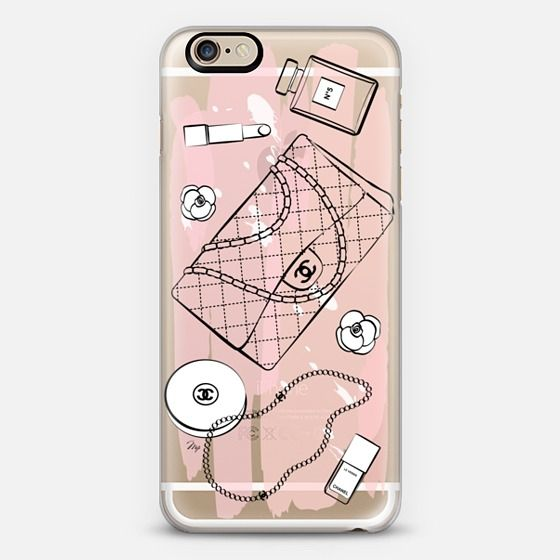 pink chanel flatlay accessories illustrated phone cover mobile case