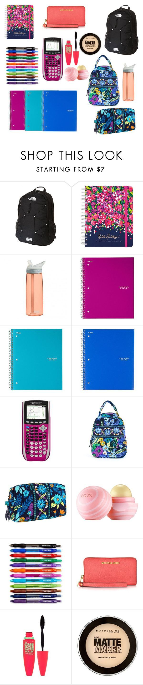 """Preppy School Supplies"" by oliviafox11 ❤ liked on Polyvore featuring beauty, The North Face, Lilly Pulitzer, CamelBak, Vera Bradley, Eos, Paper Mate, Michael Kors and Maybelline"