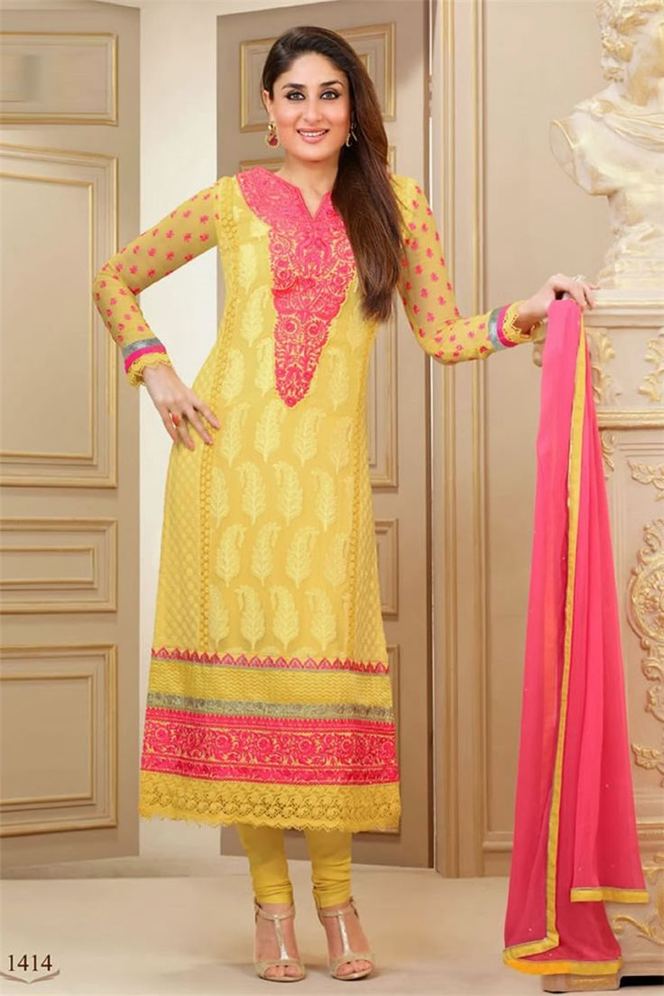 Kareena Kapoor Style Off Lite Yellow Color Faux Georgette Fabric Salwar Kameez With Matching Bottom And Dupatta.
