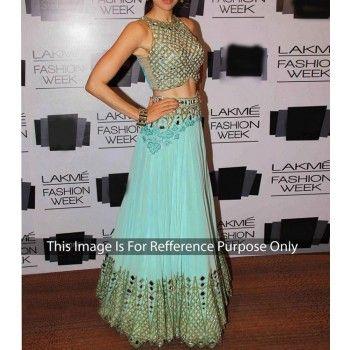 Net Sequins Work Blue Semi Stitched Bollywood Style Lehenga - 360