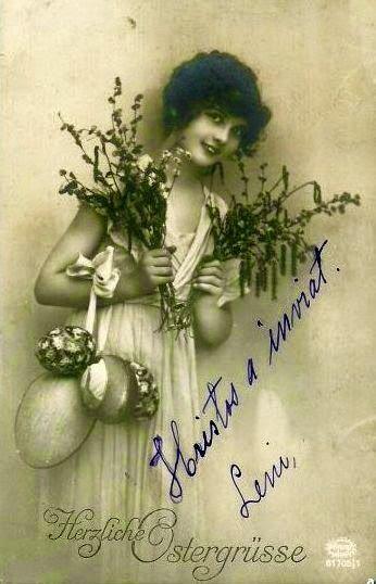 iluatrata vedere postala foto 1915 femeie cu crengi si oua in mana  semnata Hristos a inviat. Leni, mai multe ilustrate pe blog
