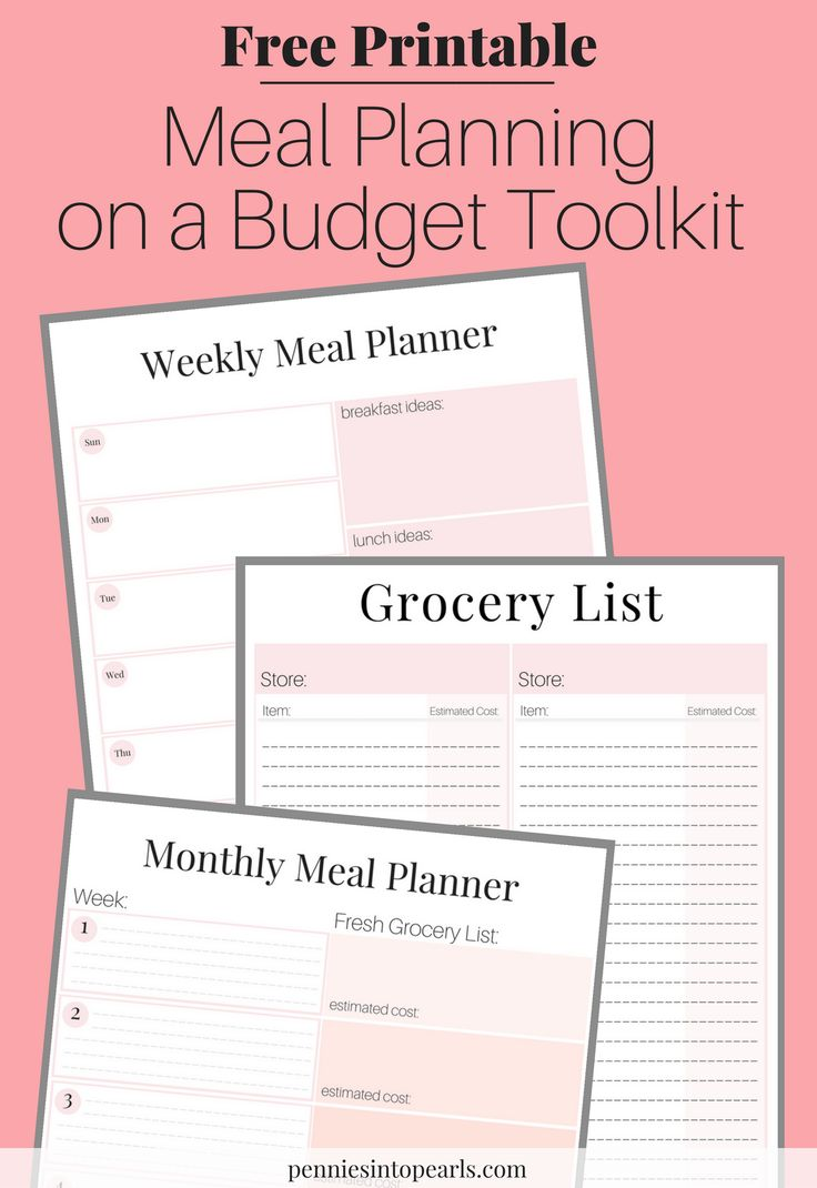 Free money saving weekly meal plans printable plans with family - Meal Planning On A Budget Toolkit Free Printables Tips