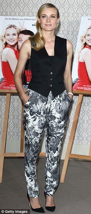 diane kruger + print pants