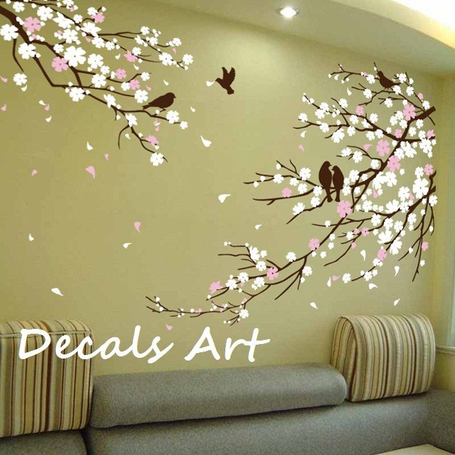 Cherry blossom branches with birds vinyl wall sticker for Christmas wall mural plastic