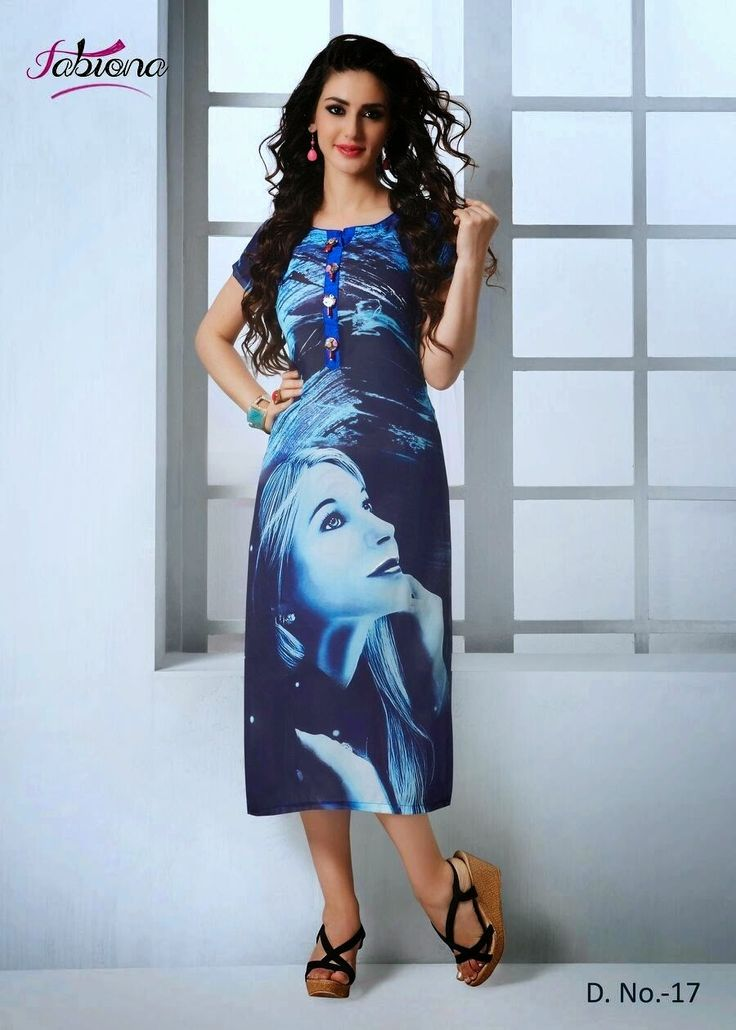 Beautifully Designed Digitally printed Blue Georgette Kurti. Modernized and trendy looking Party wear stuff.
